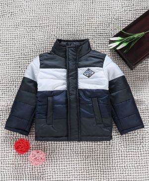Babyhug Full Sleeves Padded Winter Jacket - Navy Blue