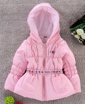 Babyhug Full Sleeves Padded Winter Jacket With Hood Floral Embroidered - Pink