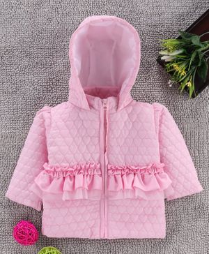 Babyhug Full Sleeves Padded Winter Jacket With Hood - Light Pink