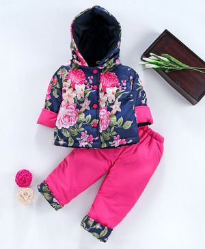 Babyhug Full Sleeves Hooded Jacket With Lounge Pant Floral Print - Pink Blue