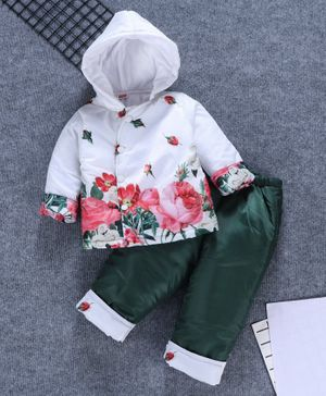 Babyhug Full Sleeves Hooded Jacket And Bottoms Floral Print - White Green