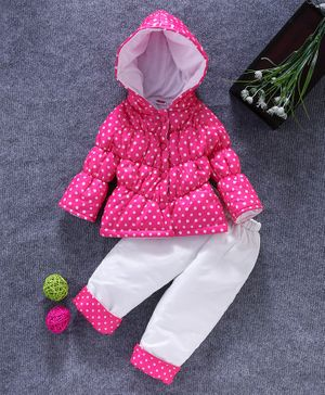 Babyhug Full Sleeves Hooded Quilted Jacket With Lounge Pant Dot Print - Pink