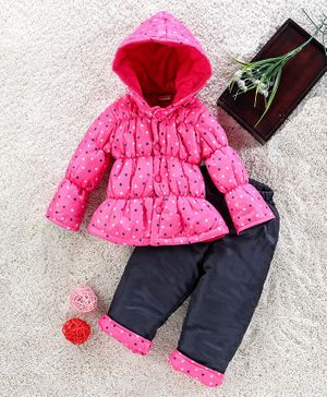 Babyhug Full Sleeves Padded Jacket With Lounge Pant Star Print - Pink