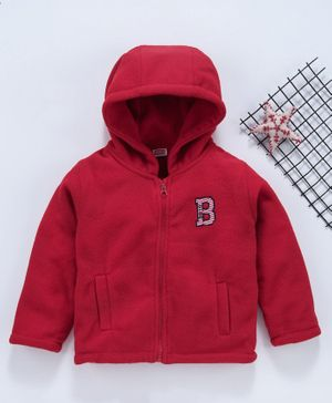 Babyhug Full Sleeves Hooded Sweat Jacket Alphabet B Embroidery - Red