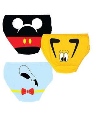 Plan B Cartoon Print Pack Of 3 Panties - Black Yellow Blue