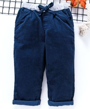Babyhug Full Length Corduroy Pants - Navy Blue