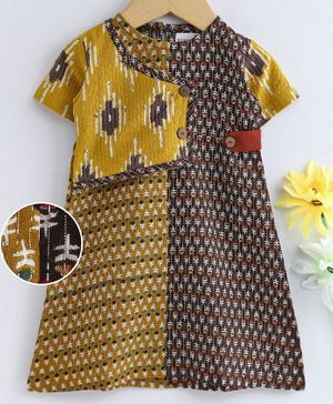 Bodhi Rai Flower Printed Half Sleeves Dress  - Yellow