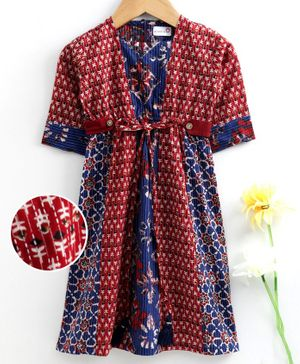 Bodhi Rai Flower Printed Half Sleeves Dress  - Blue