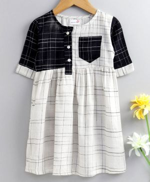 Bodhi Rai Checkered Half Sleeves Dress  - White