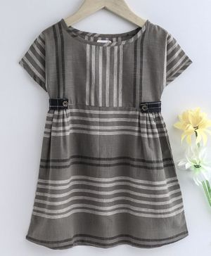 Bodhi Rai Striped Half Sleeves Dress  - Grey