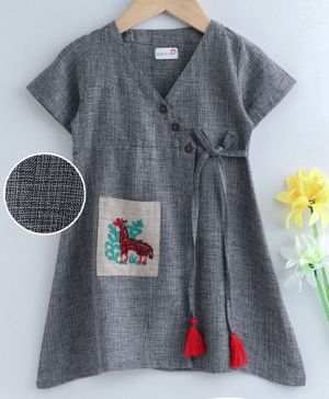 Bodhi Rai Animal Patch Half Sleeves Dress  - Grey