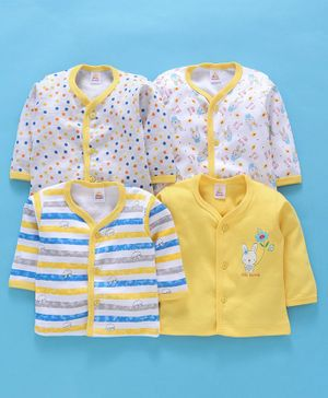 Mini Donuts Full Sleeves Multi Print Vests Pack of 4 - Yellow