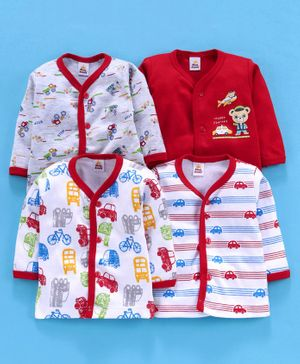 Mini Donuts Full Sleeves Vests Multi Print Pack of 4 - Red White