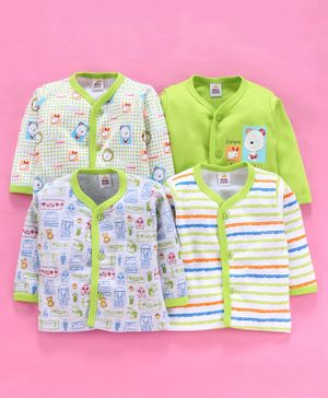 Mini Donuts Full Sleeves Vests Multi Print Pack of 4 - Green