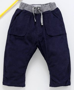 marshmallows Full Length Ribbed Corduroy Trousers - Navy Blue