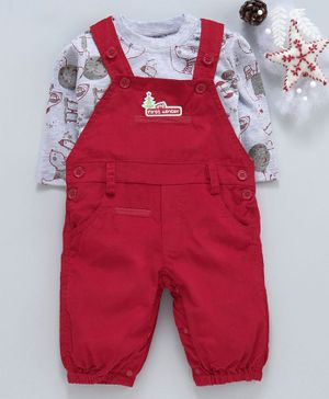 marshmallows Corduroy Solid Dungaree With Printed Tee - Red