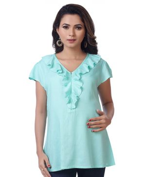 Kriti Short Sleeves Maternity Nursing Top Ruffle Detailing - Sea Green