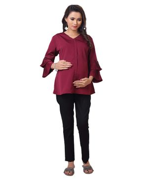 Kriti Full Sleeves Maternity Nursing Top - Maroon