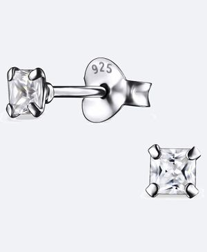 Aww So Cute Square Design 925 Sterling Silver Studded Earrings - Silver