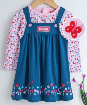 Babyhug Square Neck Frock With Inner Tee Floral Print - Pink Blue