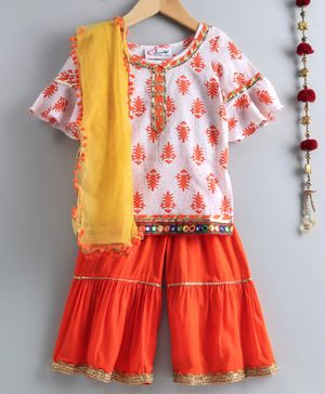 M'andy Three Fourth Sleeves Motif Print Kurta With Sharara & Dupatta - White & Orange