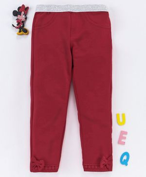 Babyhug Full Length Leggings With Bow Motif - Maroon