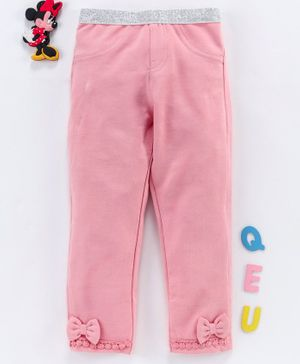 Babyhug Full Length Leggings With Bow Motif - Pink
