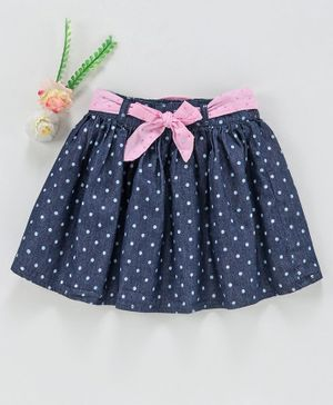 Babyhug Mid Thigh Skirt With Belt Dots Print - Dark Blue