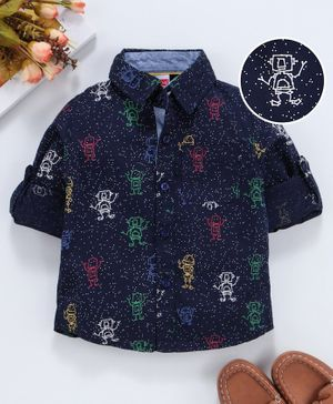 Babyhug Full Sleeves Shirt Robot Print - Navy Blue