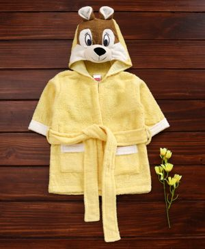 Babyhug Cotton Full Sleeves 3D Hooded Bath Robe Mouse Design - Yellow