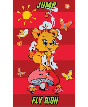 Sassoon Cotton Bath Towel Puppy Print - Red