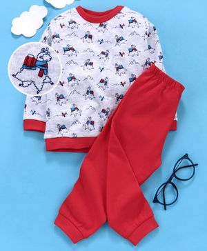 OVS Full Sleeves Sheep Print Night Suit - Red