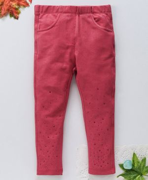 OVS Beads Embellished Hem Full Length Pants - Red