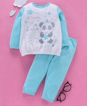 OVS Full Sleeves Panda Print Night Suit - Blue