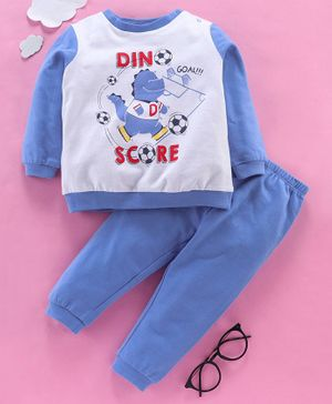 OVS Full Sleeves Dinosaur Playing Football Print Night Suit - Violet