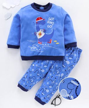 OVS Go Dino Go Print Full Sleeves Night Suit - Blue