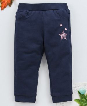 OVS Star Print Full Length Pants - Navy Blue