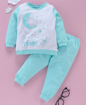 OVS Full Sleeves Up To The Moon Bunny Print Night Suit - Blue