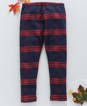 OVS Full Length Checked Pants - Navy Blue