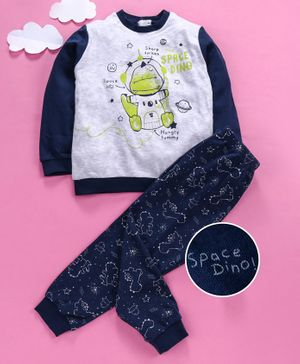 OVS Baby Dinosaur Print Full Sleeves Night Suit - Grey