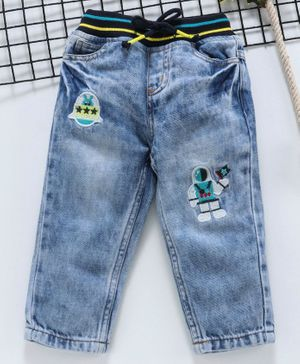 Babyhug Full Length Ribbed Waist Jeans Astronaut Patch - Light Blue