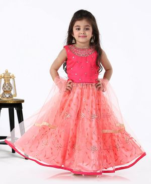 Babyhug Sleeveless Choli & Lehenga with Dupatta Sequin Embellished - Pink