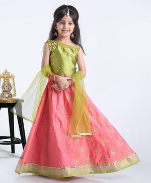 Babyhug Sleeveless Choli WIth Lehenga & Dupatta Sequin Work - Green