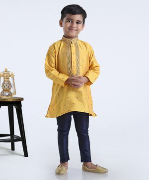 Babyhug Full Sleeves Printed Kurta & Pyjama Set - Yellow
