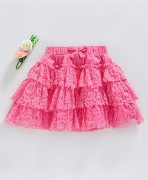 Babyhug Layered & Embroidered Lace Fabric Knitted Skirt - Pink