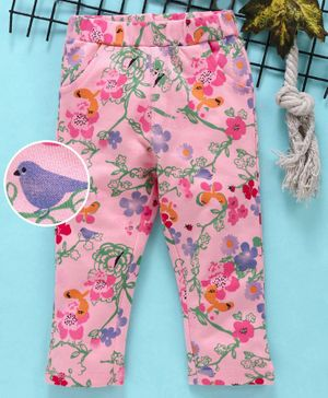 Babyhug Ankle Length Stretchable Trousers Floral Print - Pink