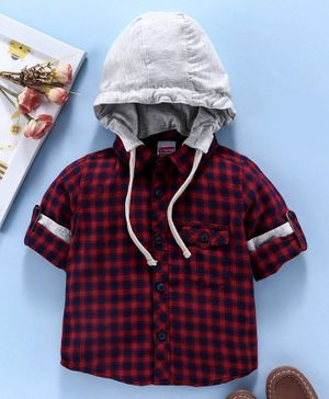 Babyhug Full Sleeves Checks Shirt With Detachable Hood - Red
