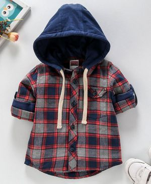Babyhug Full Sleeves Hooded Checked Shirt - Navy Grey