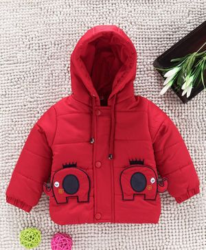 Babyhug Hooded Jacket With Embroidered Pocket - Red