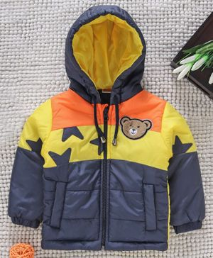 Babyhug Full Sleeves Hooded Padded Jacket Bear Patch - Yellow Blue